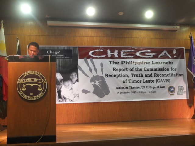 Timor-Leste's Ambassador to the Philippines, Juvencio de Jesus Martins, speaks at Chega! seminar, University of the Philippines, Manila, 14 Dec 2015.